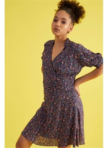 Z Giyim Kadın  Hardal Sarısı  Çiçek Desenli Kruvaze Yaka Elbise Lacivert